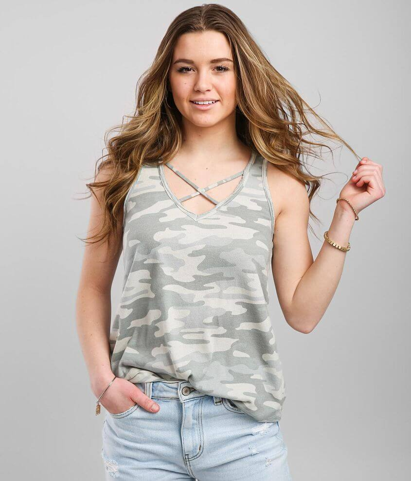 White Crow Strappy Camo Tank Top front view