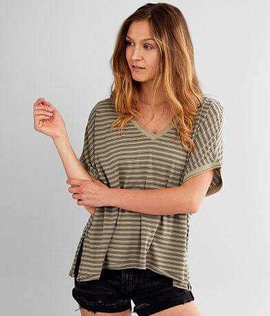 White Crow Micro Stripe Boyfriend T-Shirt