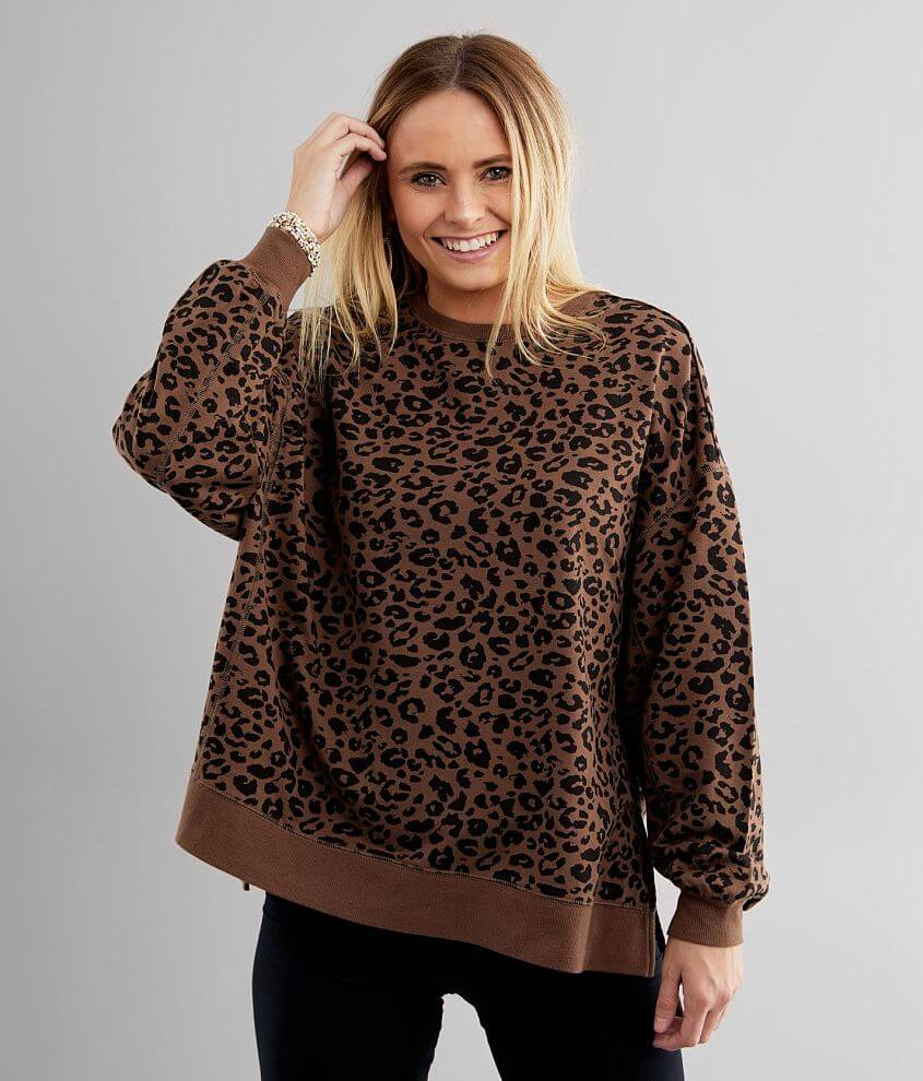 White Crow Modern Cheetah Weekender Pullover front view