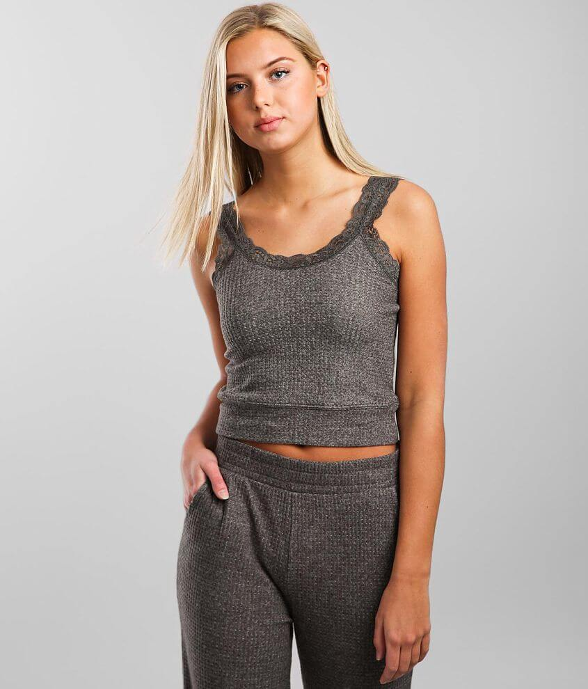 Z Lounge Lacie Cropped Thermal Tank Top front view