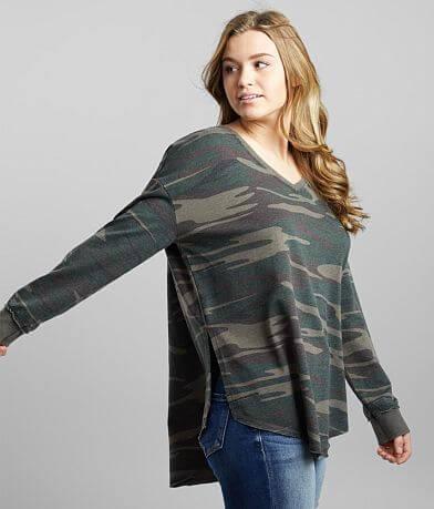 Z Supply Camo Print V-Neck Weekender Pullover