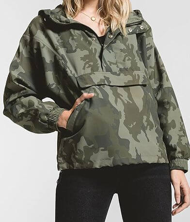 Rag Poets Parma Camo Windbreaker Hooded Jacket