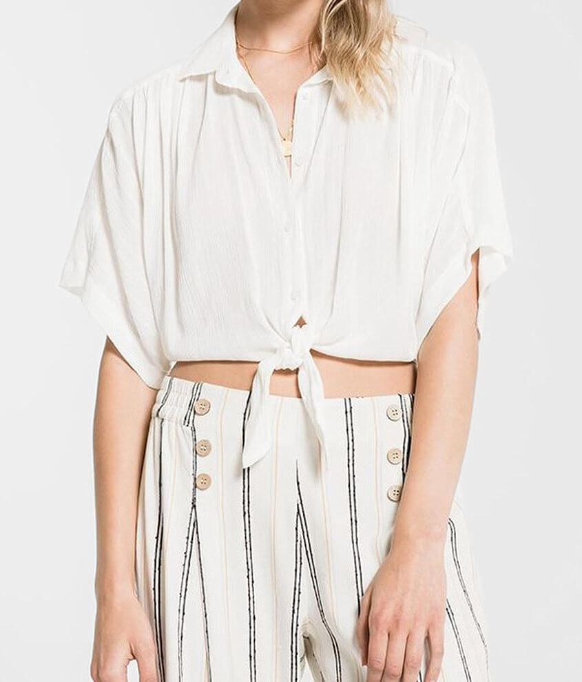 Rag Poets Minori Cropped Front Tie Blouse front view