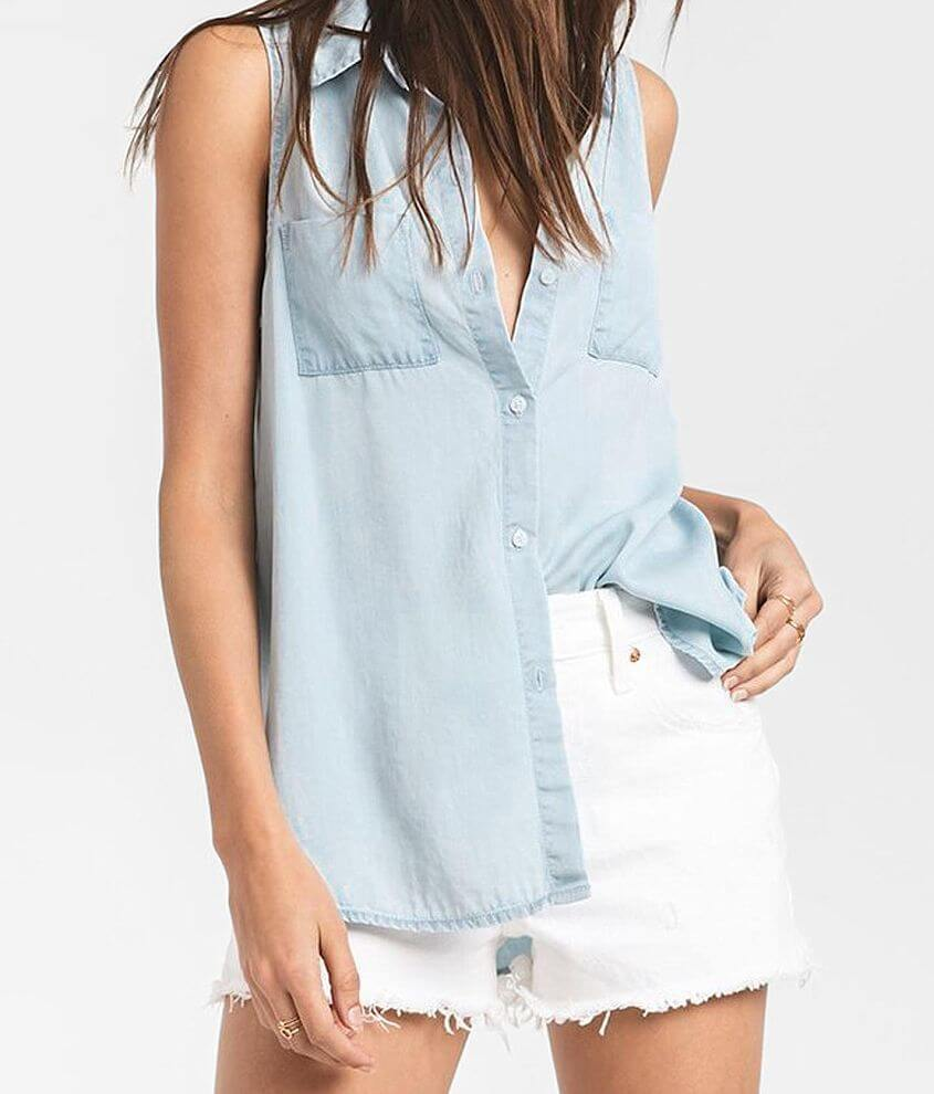 Rag Poets Java Chambray Tank Top front view