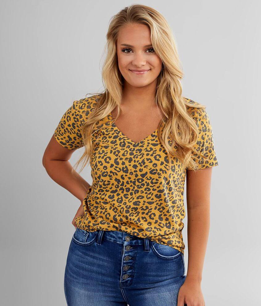 White Crow V-Neck Cheetah T-Shirt front view