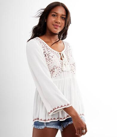 White Crow Morelia Embroidered Crinkle Top