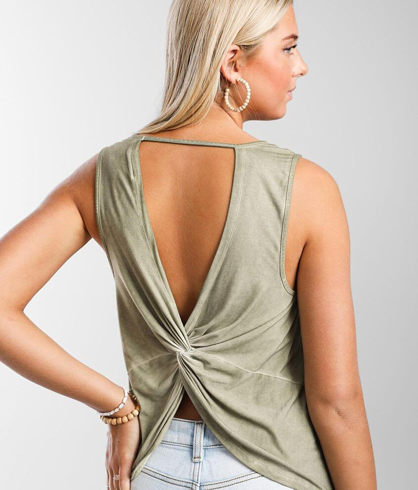 White Crow Lupita Twisted Open Back Tank Top front view