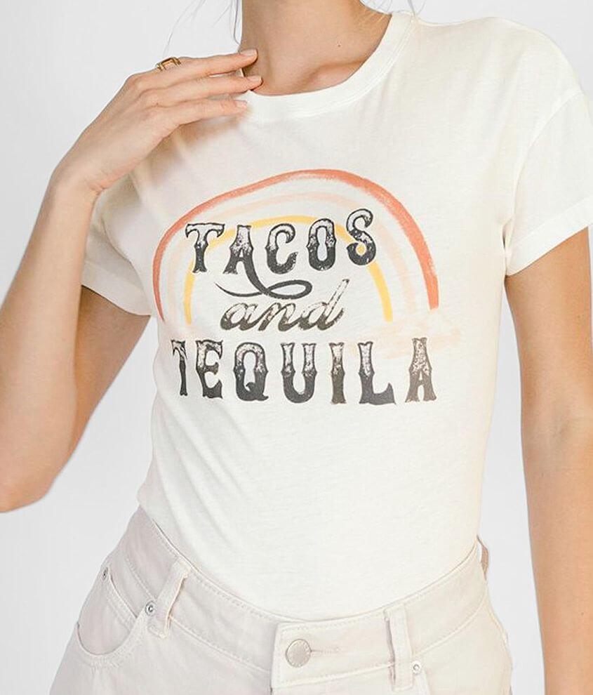 White Crow Tacos And Tequila T-Shirt front view