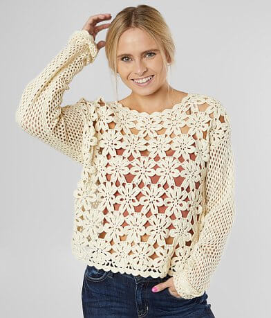 White Crow Prado Floral Crochet Sweater