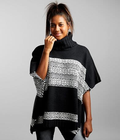 White Crow Lorena Pulled Stitch Poncho Sweater