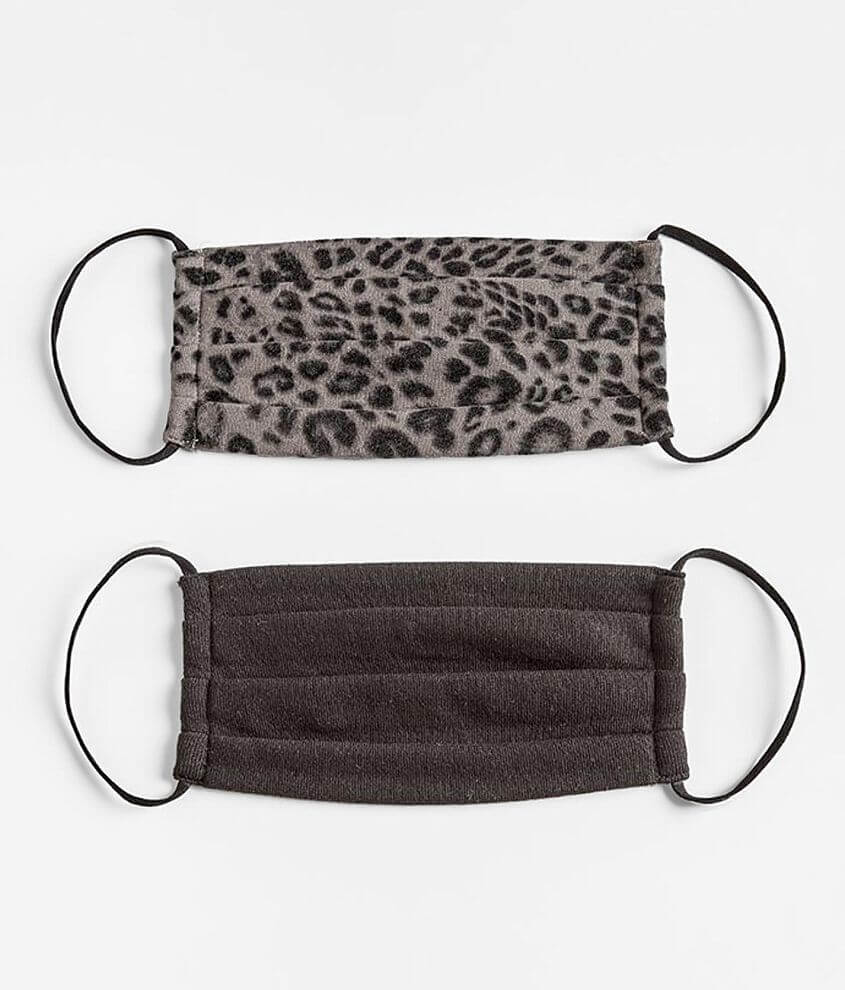 White Crow Leopard 2 Pack Face Masks front view