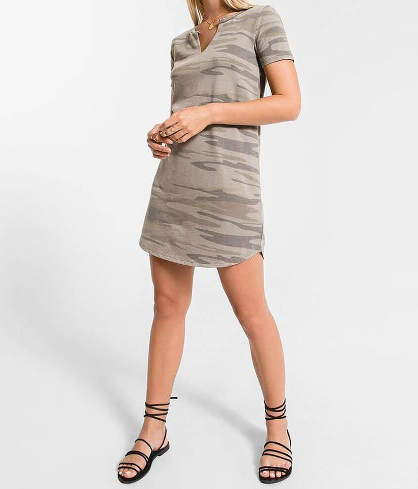 Z Supply The Camo Split Neck Dress front view