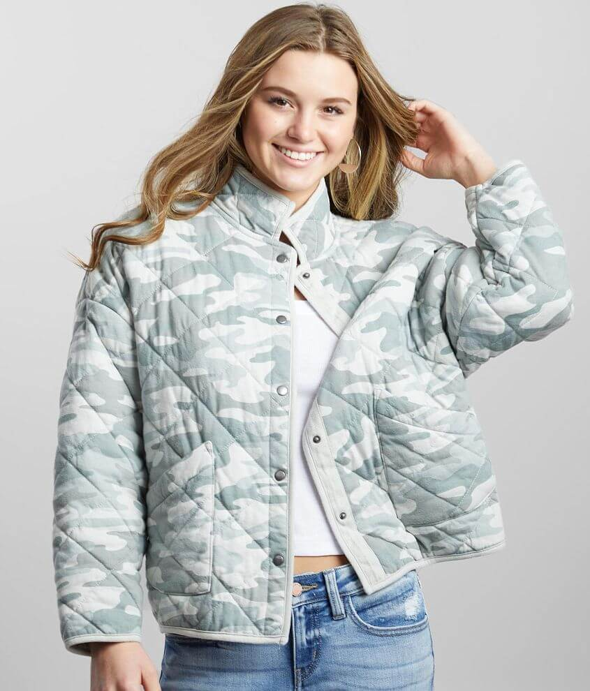 Z Supply Maya Quilted Camo Jacket front view