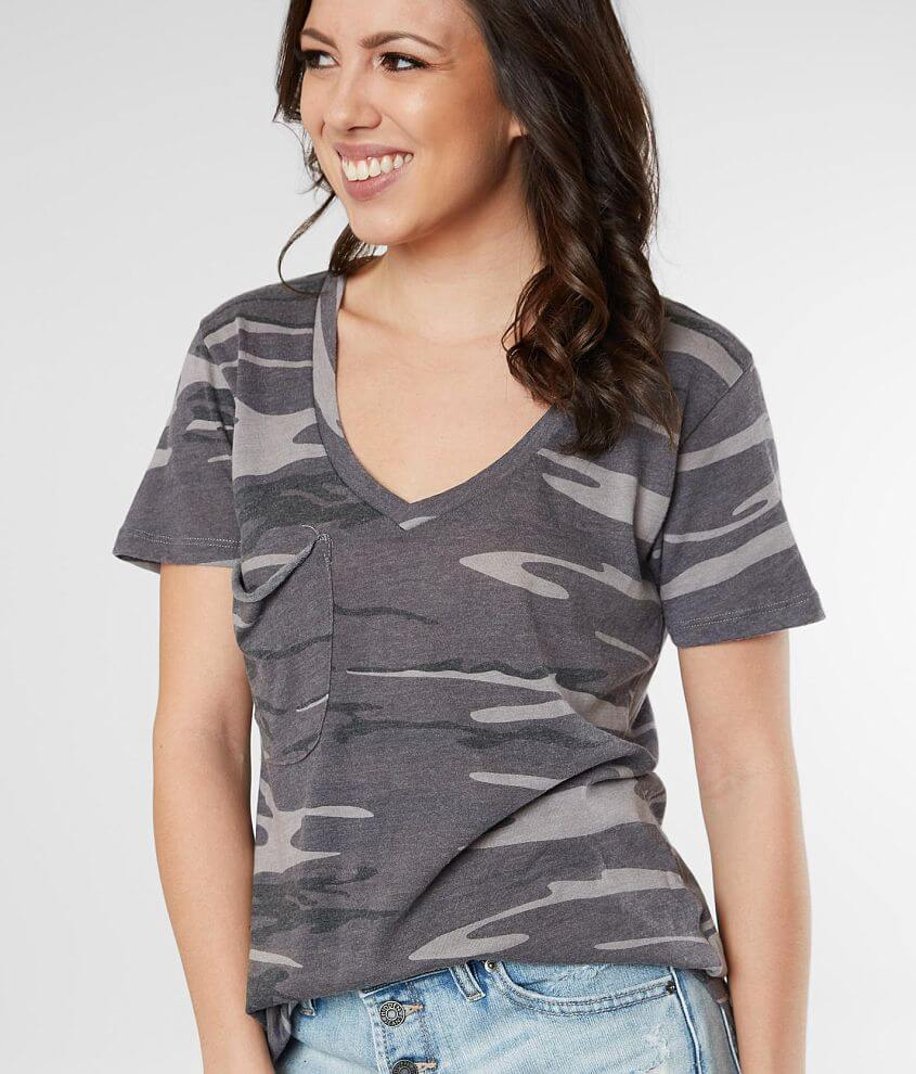 Z Supply Camo V-Neck T-Shirt front view