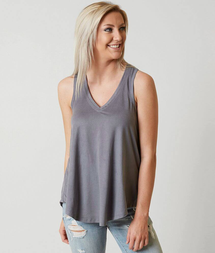 White Crow Faux Suede Tank Top front view