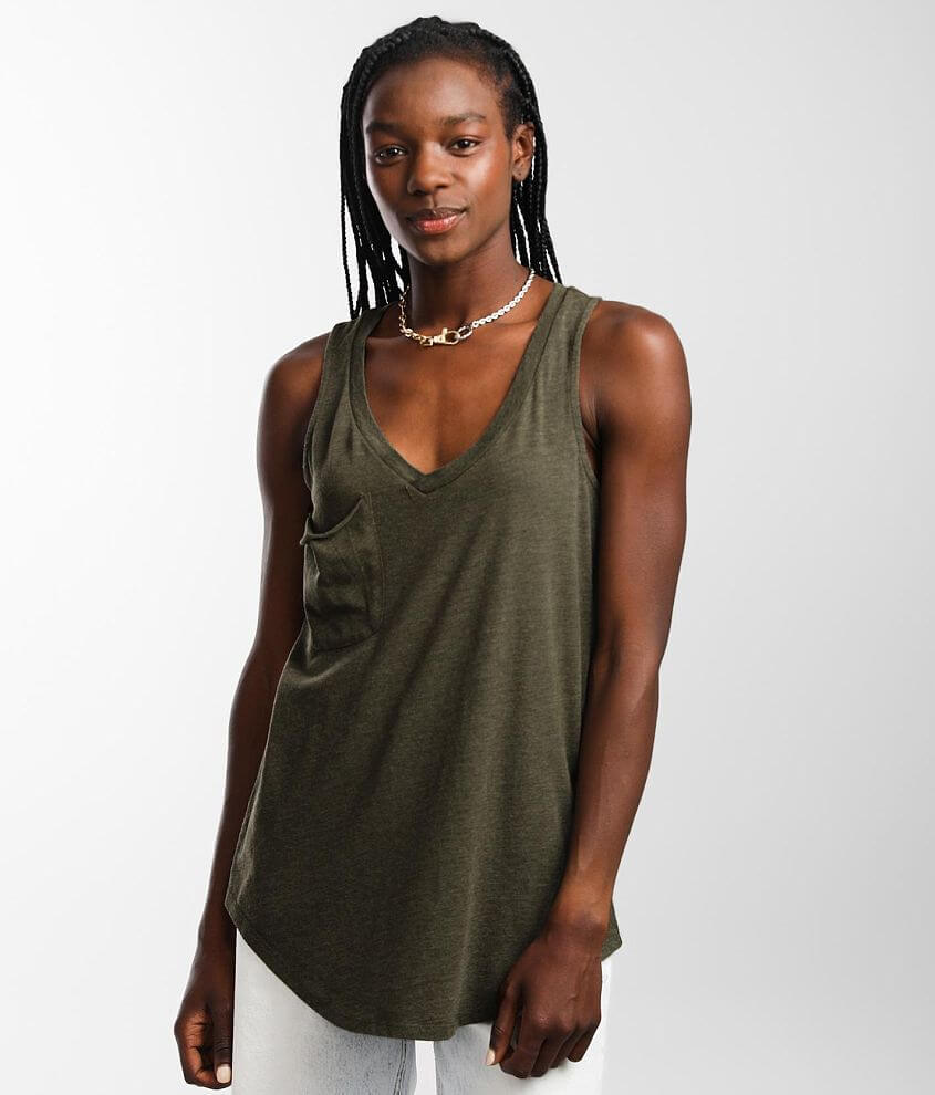 Z Supply The Pocket Racerback Tank Top front view