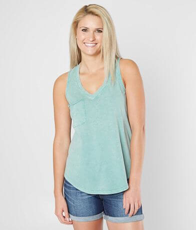 White Crow Washed V-Neck Tank Top