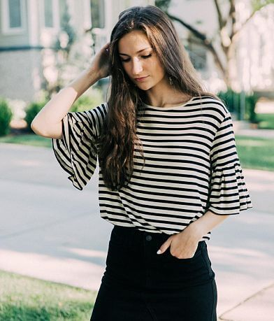 Z Supply The Striped Ruffle Top