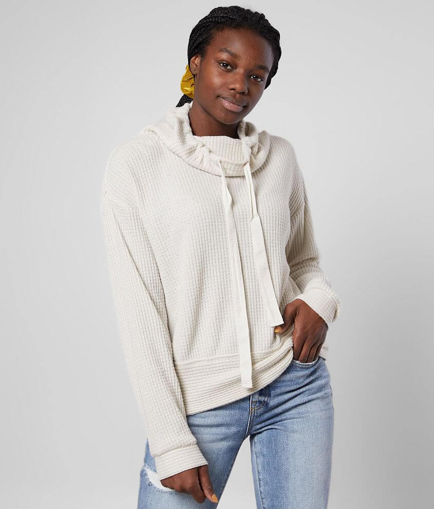 Z Supply The Cowl Neck Waffle Pullover front view