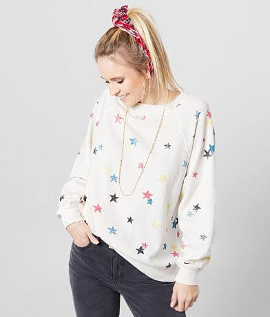 White Crow The Distressed Star Pullover Sweatshirt