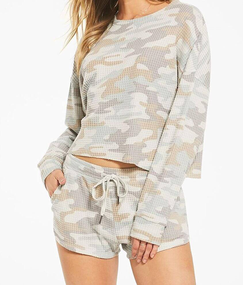 Z Lounge Celine Camo Waffle Knit Pullover front view