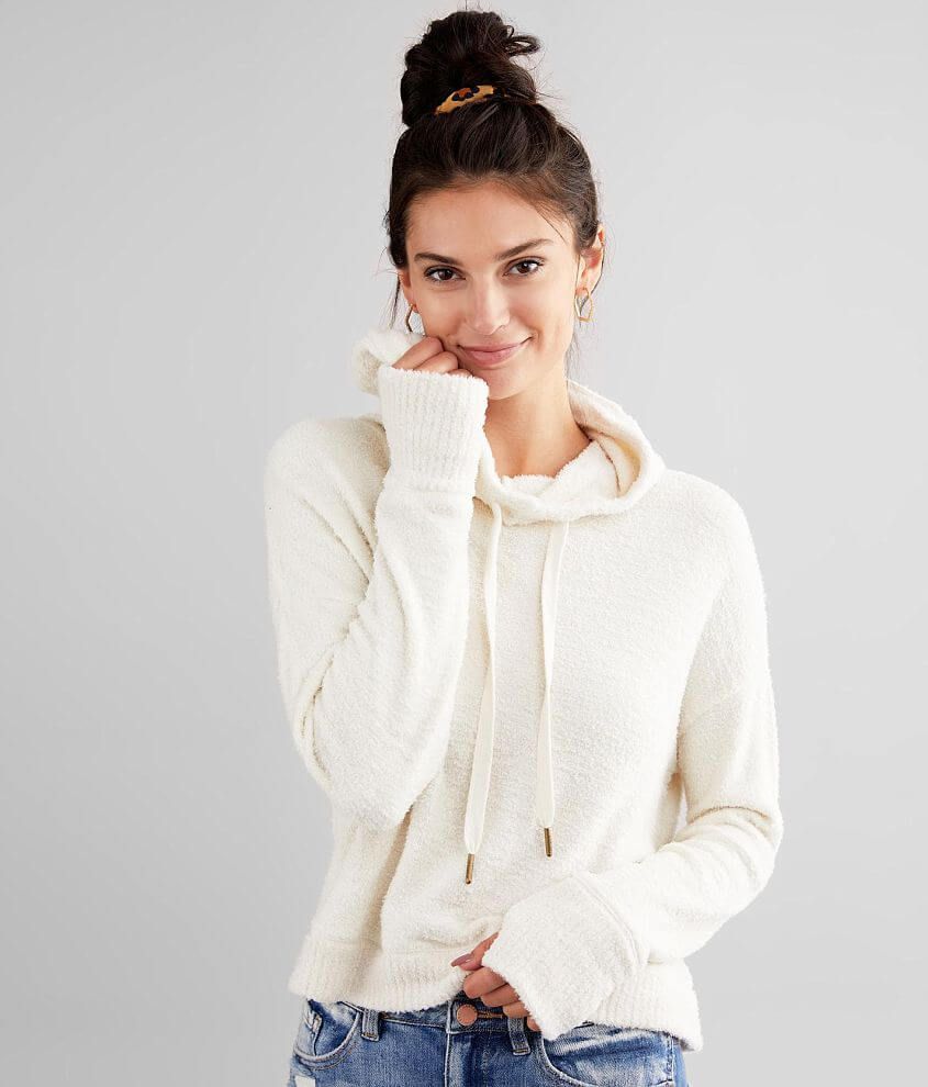 White Crow Kacey Feather Cropped Hoodie front view
