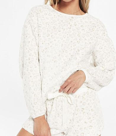Z Lounge Frosted Leopard Plush Pullover