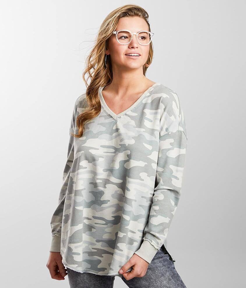 Z Supply Camo V-Neck Weekender Pullover front view