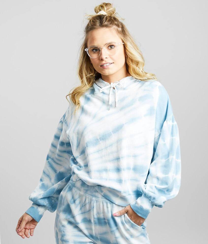 Z Supply Eva Spiral Tie Dye Hooded Sweatshirt front view