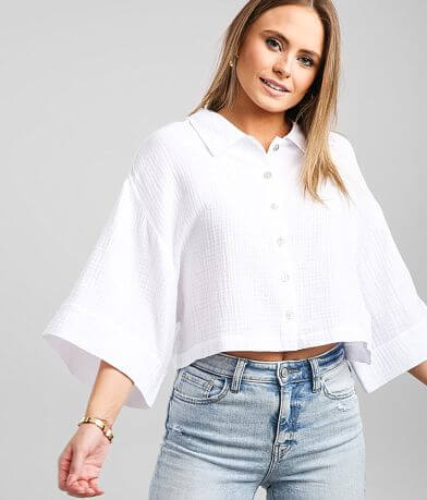 Z Supply Canal Gauze Cropped Shirt