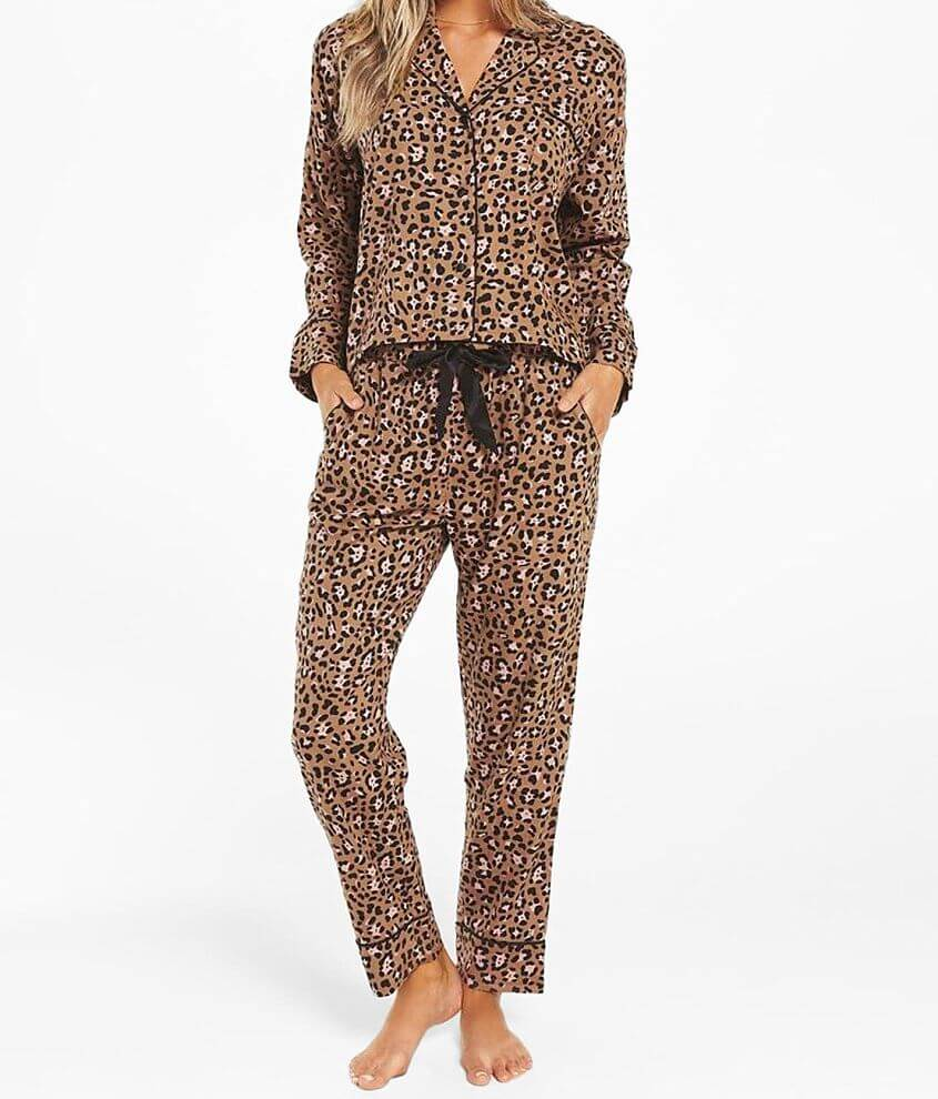 Z Lounge Dream State Leopard Pajama Set front view