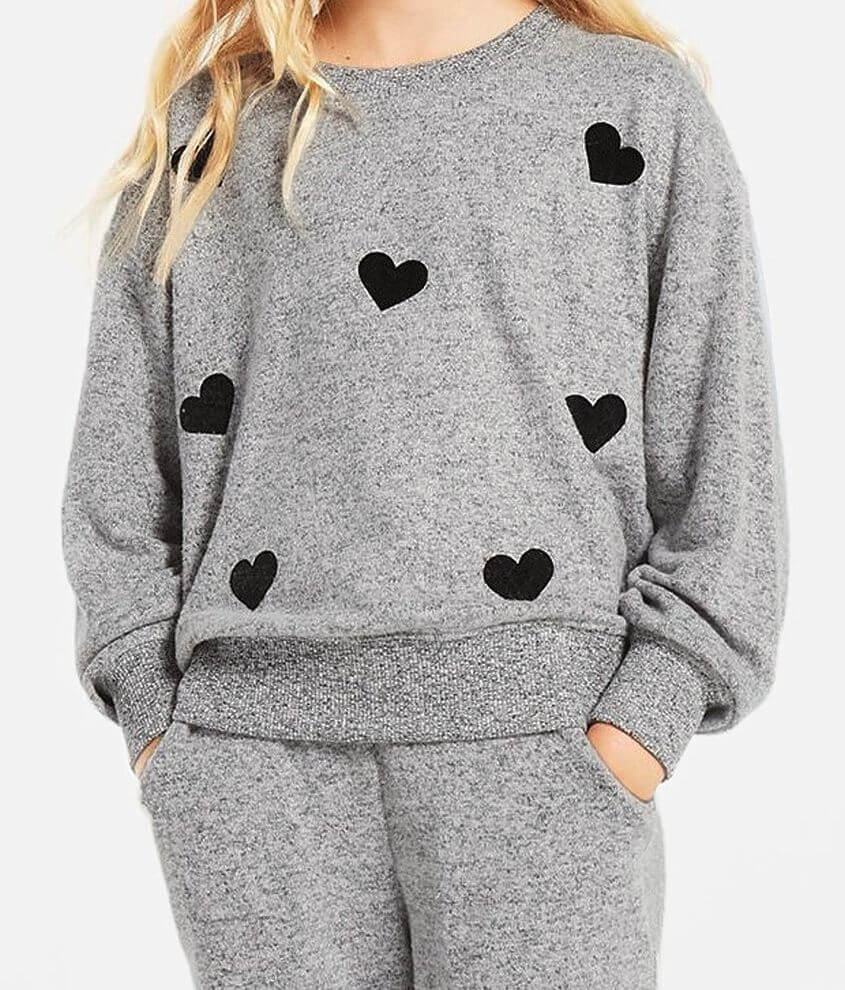 Girls - Z Supply Audrey Heart Pullover front view