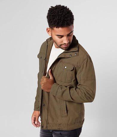 BKE Washed Cotton Mock Neck Jacket